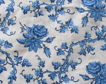 5f206d28ae Vintage Print Blue Floral Fabric Windham China Blue By the Yard Cotton  Sewing Materials Quilting Materials Home Decor Fabric