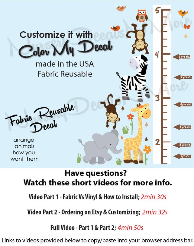 Repositionable Jungle Growth Chart Decals Height Chart Wall Etsy