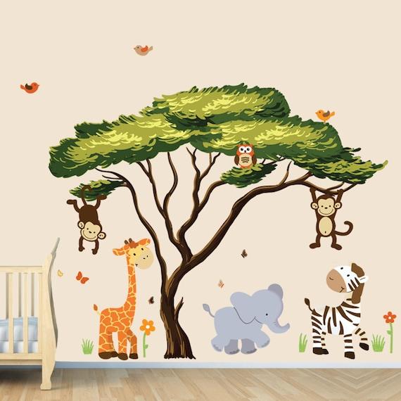 Afrikanischen Baum Mit Dschungel Tiere Wand Aufkleber Etsy