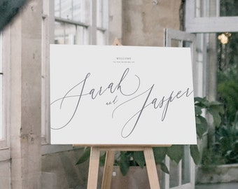 PRINTED Wedding Welcome Sign - Calligraphic style Sign