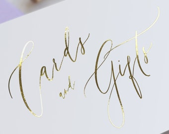 Gold FOIL Cards and Gifts Sign - Modern Calligraphy style