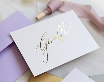 Gold FOIL Table Name cards - Modern Calligraphy style