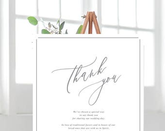 PRINT Wedding Donation Sign - Calligraphic style