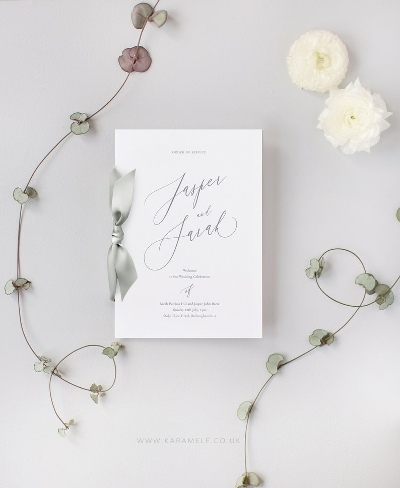 PRINTED Wedding Order of Service  Modern Calligraphy style image 0