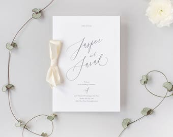 PRINTED Calligraphy Order of Service - Wedding Program Booklet - size A5