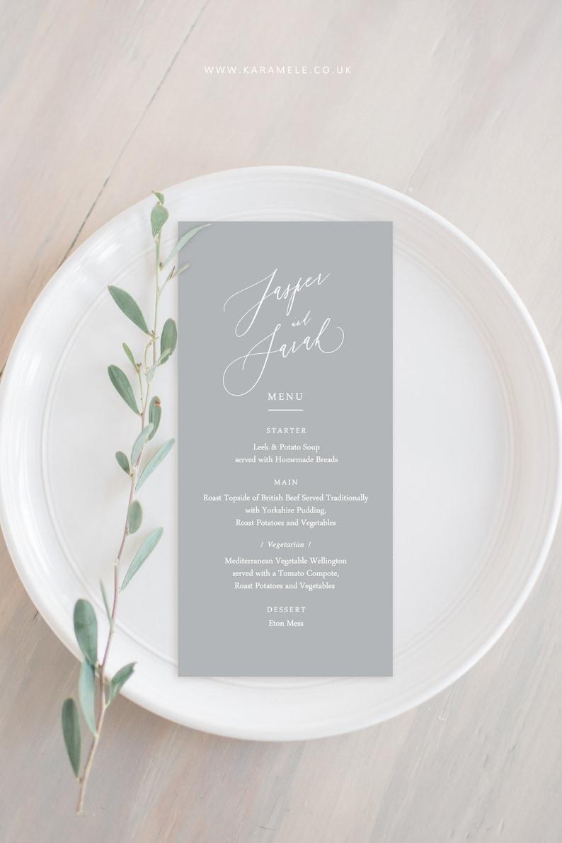 Elegant Grey Wedding Menu Card image 0