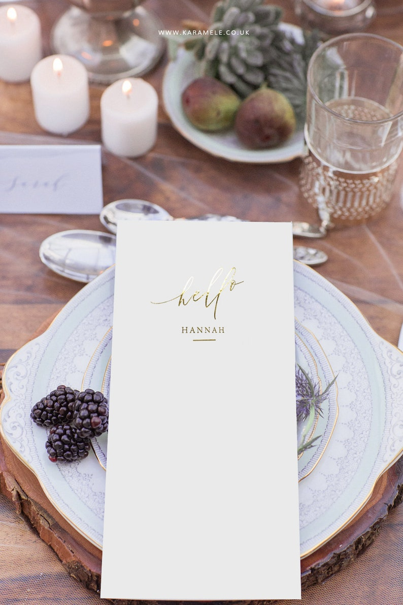 PERSONALISED Modern Wedding Menu DL  Foiled Menu image 0