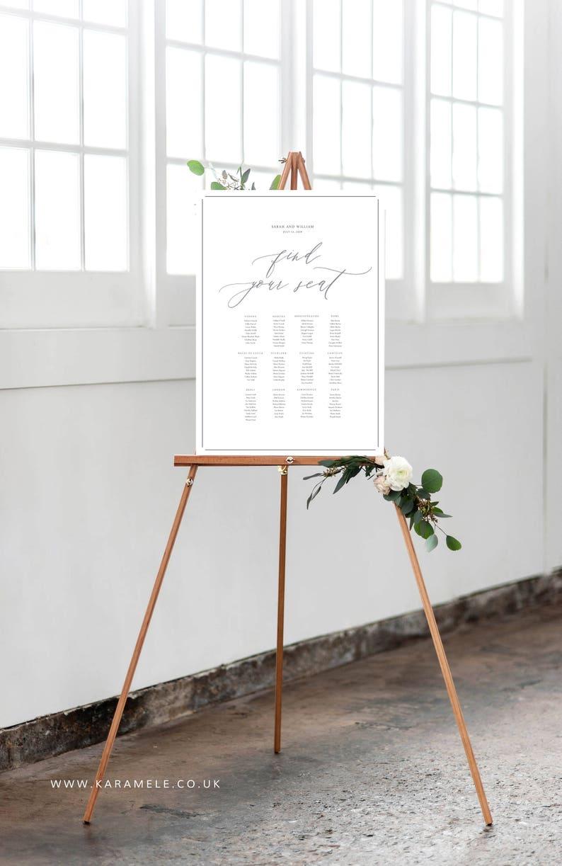 PRINTED Wedding Table Plan  Calligraphic style image 0