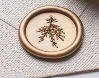 Mistletoe Christmas self adhesive wax seals - pack of 5