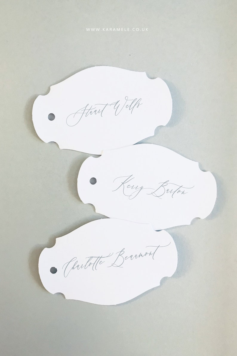 NEW Calligraphy style Name Tags Shaped tags Wedding Place image 0