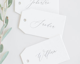 Calligraphy style Name Tags, Luggage tags, Wedding Place cards
