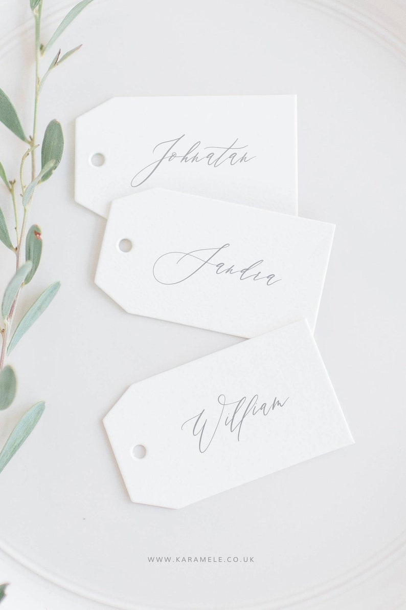 Calligraphy style Name Tags Luggage tags Wedding Place cards Without eylet