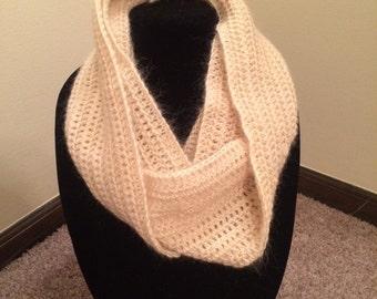 Handmade Crochet Mohair Cream Infinity Scarf