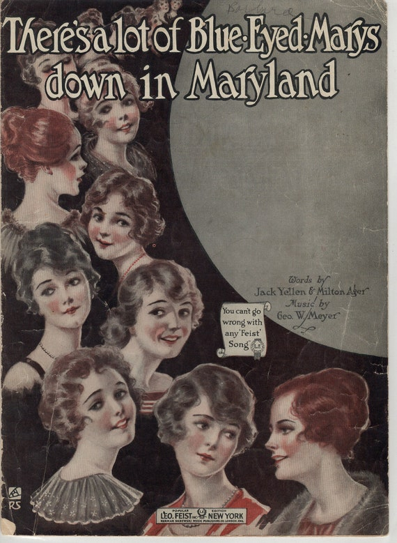 """1919-WW1 war issue - small format - There's a lot of Blue Eyed Marys down in Maryland- cover art by Rose - """"every one's a prize"""""""