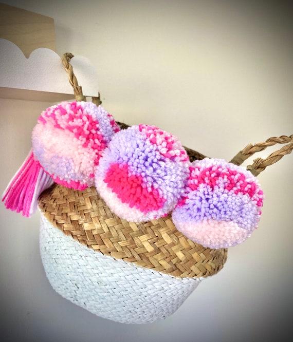 Neon pink, lavender/lilac and pastel pink seagrass pom pom basket. Belly basket. One of a kind. Storage. Seagrass basket. Plant pot.