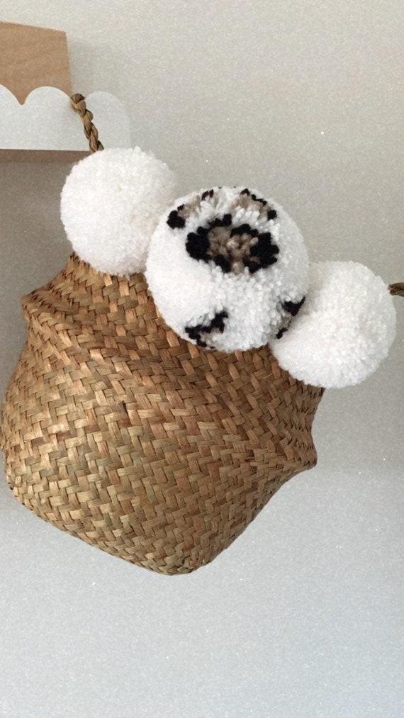 Leopard pom pom basket/leopard print/leopard basket/pom pom basket/leopard pom pom/leopard print/leopard decor/