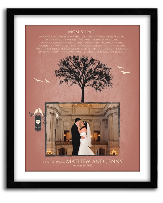 Wedding Gifts For Grooms Parents: Items Similar To Wedding Gift For Parents Of Bride And