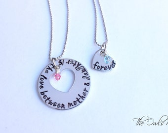 Hand Stamped Mother Daughter Necklace Set The Love Between Mother & Daughter Is Forever