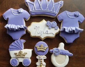 Lavender Princess sugar cookies, purple princess sugar cookies, lavender princess baby shower cookies
