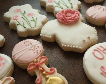 Garden baby shower sugar cookies, girl birthday cookies, baby shower cookies, flower cookies, pink white and gold cookies