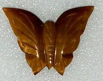 Papillon d'oeil de tigre sculpté, percés