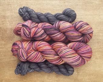 Wildflower (OOAK) heel/toe sock set - superwash merino/nylon sock yarn (463 yd skein w/matching 100 yd skein)
