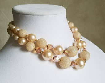 Vintage Soft Pink Beaded Necklace, Sparkly Sugar Bead Necklace, Champagne and Pink Necklace, Vintage Wedding Jewelry, Made in Japan