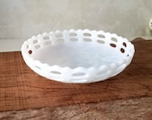 Fenton Milk Glass Bowl, Vintage Open Basket Weave White Glass Bowl, Small Glass Candy Dish