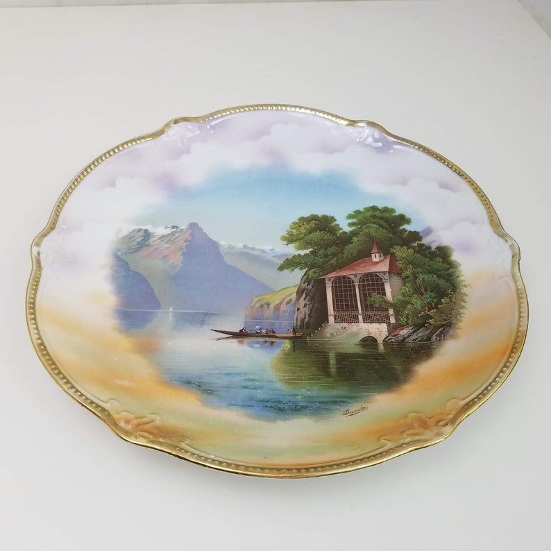 Magnificent Vintage German Porcelain Plate Vintage Painted Plate Signed Danilo Gold Rimmed Painted Plate Mountain And Lake Scene Vintage Home Decor Download Free Architecture Designs Rallybritishbridgeorg
