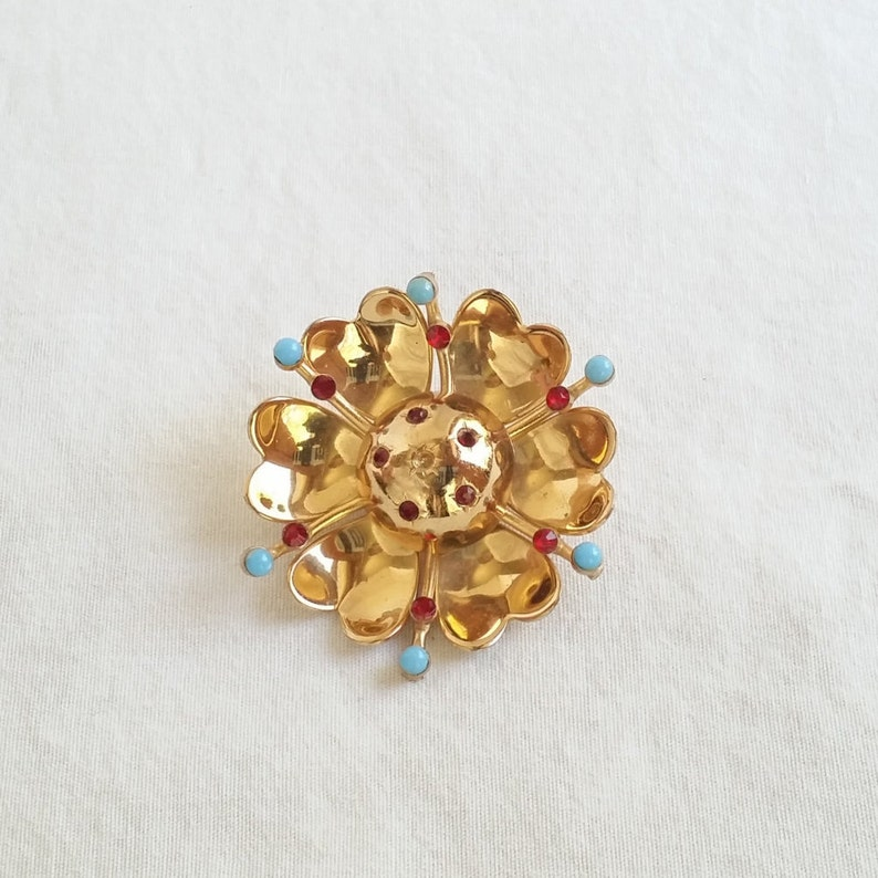 Statement Brooch Ruby Crystals Gifts for Her Vintage Coro Brooch Gold Enamel and Rhinestone Pin 1919 Jewelry Vintage Flower Brooch