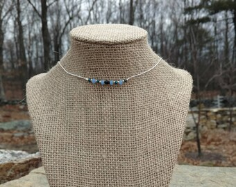 Sterling Silver Choker with blue and black crystal
