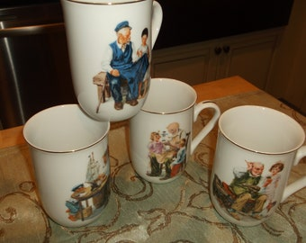 0f51a0b4e75 Vintage Mugs Norman Rockwell Mugs Cups Estate Sale New Old Stock Never Used  Original Box Christmas Gift Coffee Mug Gift Set