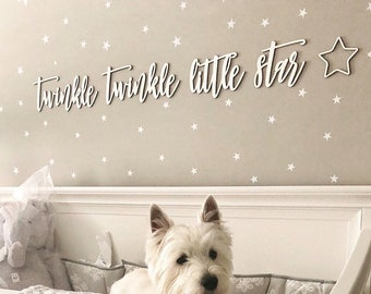 Twinkle Twinkle Little Star Sign, No Backboard, Small Quote Wall Sign, Nursery Sign, Baby Room, Baby Shower Gift, Lullaby Cute Unique