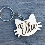 Personalized Cat Keychain, Custom Keychain, Engraved Wood Keychain, Christmas Gift Stocking Stuffer Anniversary Birthday Bridesmaid Key Ring