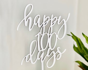 """Happy 100 Days Cake Topper 5.5"""" inches - Baby Celebration 100th Day Modern Calligraphy Laser Cut Wedding Toppers Korean Dol Topper"""