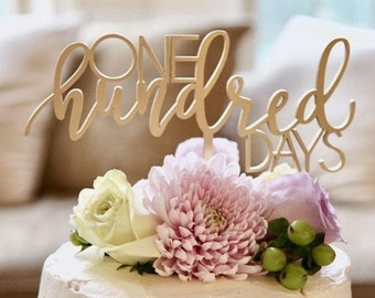"""One Hundred Days Cake Topper, 8"""" inches - Happy 100 Days Baby Birth Celebration 100th Calligraphy Laser Cut Toppers Korean Dol Topper"""