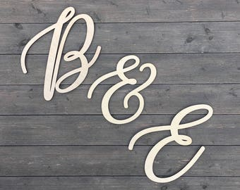 Initials Sign 10 inches tall - Version 2, Personalized Letter Sign Cutout, Initial Wedding Sign, Backdrop Sign, Alphabet Sign, Wooden Sign