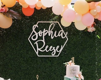 "Personalized Large Names Sign 23""x26"" inches, Geometric Custom Hexagon Name Sign, Wedding Birthday Nursery Backdrop Laser Cut Decor Unique"