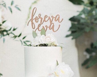 "Foreva Eva Wedding Cake Topper, 6.5""W inches, Forever Topper, Rustic Cake Topper, Unique Wood Cake Toppers, Infinity Cake Topper"