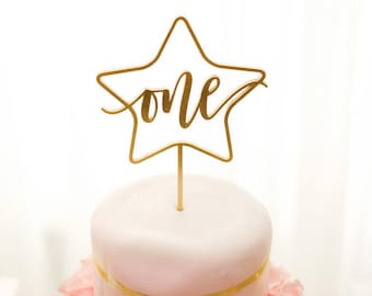 """One Star Cake Topper 5.5""""W, First Birthday Topper, Anniversary Topper, 1st Birthday Topper, Turning 1 Cake Topper, Turning One Topper"""