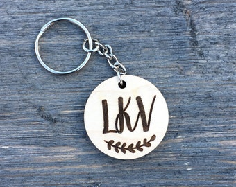 Personalized Monogram Keychain, Wood Keychain Engraved Cute Anniversary Wedding Birthday Christmas Bridesmaid Key Chain Ring Gift