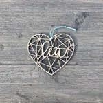 "Personalized Heart Geometric Ornament 4"" inches wide, Custom Christmas Ornament, Babys First Christmas Ornament, Wood Ornament"