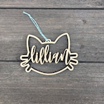 """Personalized Cat Name Ornament 5"""" inches wide, Custom Christmas Ornament, Baby's Christmas Ornament, Wood Ornament, Wedding Gift"""