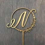 """Initial Circle Half Wreath Pearls Cake Topper 5""""D inches, Letter Cake Topper, Rustic Topper, Wreath Initials Toppers Cute by Ngo Creations"""