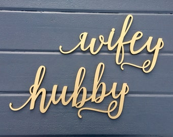 c8af554b76d Hubby and Wifey Chair Signs
