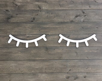 """Eyelashes Wall Sign 14"""" inches wide Each, 1 Pair, Laser Cut Wooden Sign Baby Room Nursery Girls Room Nap Room Boys Room"""