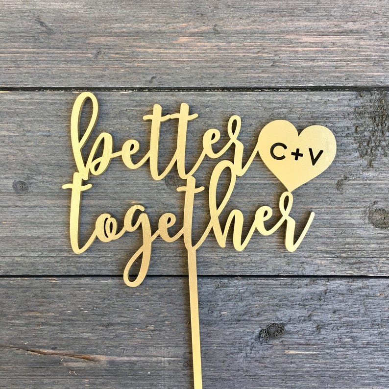 Better Together Initials Cake Topper with Heart 6 inches image 0