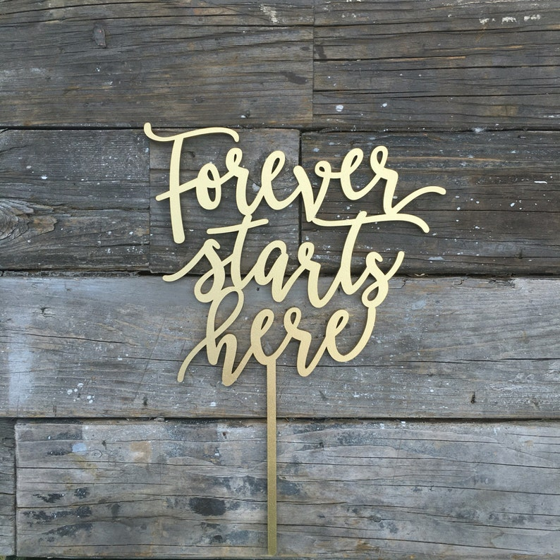 Forever Starts Here Wedding Cake Topper 7 inches image 0