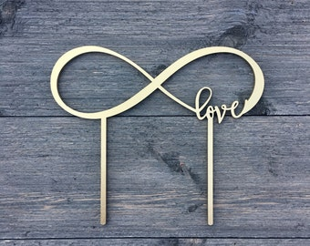 """Infinite Love Wedding Cake Topper 8"""" inches, Unique Infinity Laser Cut Cake Topper by Ngo Creations"""