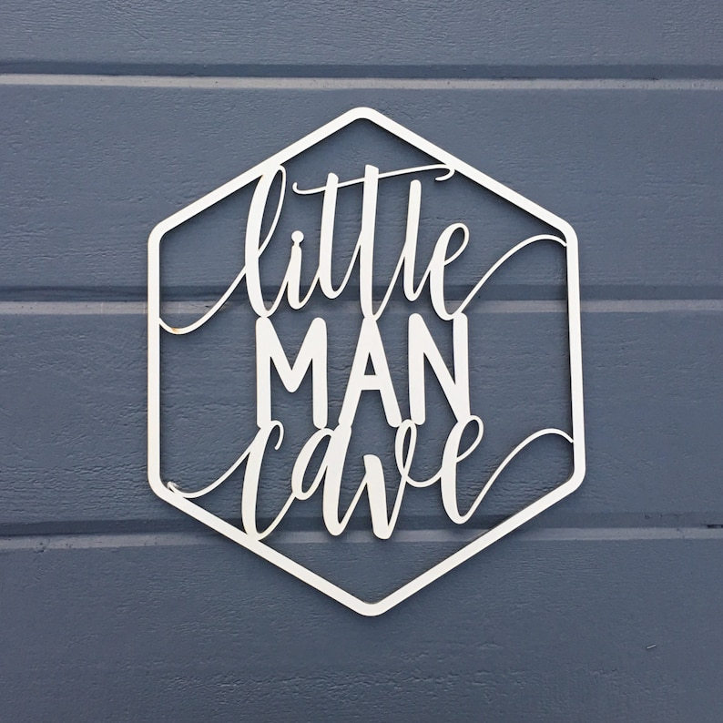 Little Man Cave Geometric Wall Sign 9.25W x 11H image 0